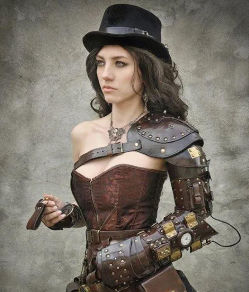 femme steampunk en cuir